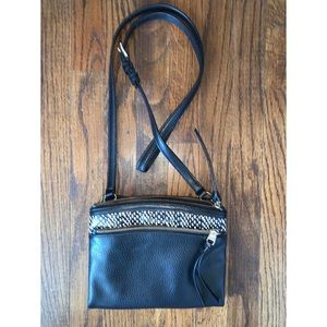 EUC Cole Haan crossbody black, animal print detail